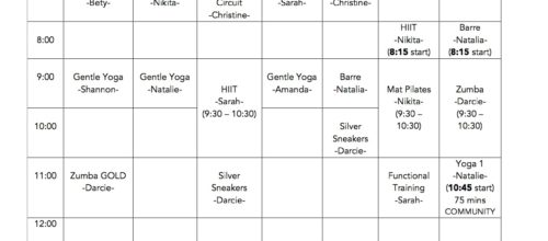Fall Group Exercise Class Schedule 2017