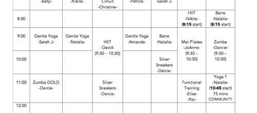 Summer Group Exercise Class Schedule
