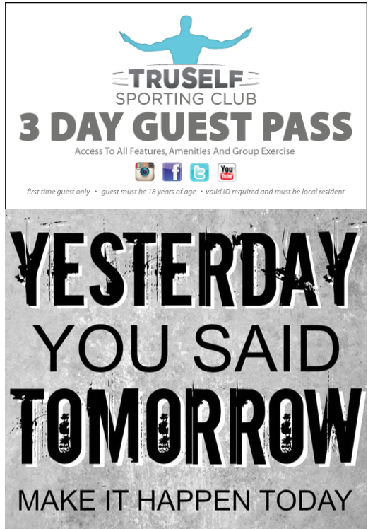 TruSelf Sporting Club 3 day guest pass back
