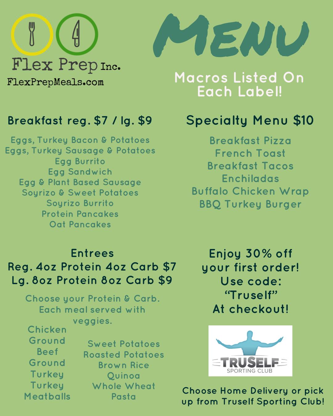 TruSelf Sporting Club gym FlexPrep Meals image menu